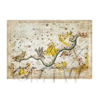 Dolls House Miniature Aged 1820s Star Map Depicting Southern Skys