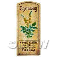 Dolls House Herbalist/Apothecary Agrimony Herb Short Colour Label
