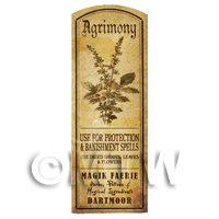 Dolls House Herbalist/Apothecary Agrimony Herb Long Sepia Label
