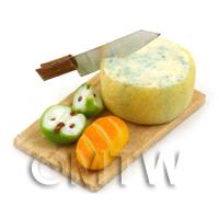 Dolls House Miniature Stilton And Apple on a Board