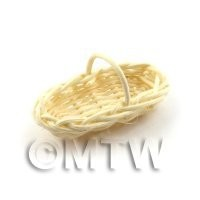 Dolls House Miniature Handmade Long Wicker Basket For Wine Bottles