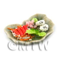 Dolls House Miniature Sushi Selection on a Wide Leaf Plate