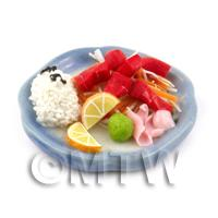 Dolls House Miniature Handmade Tuna Sushi on a Plate