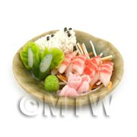 Dolls House Miniature Handmade Prawn Sushi on a Plate