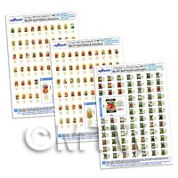 Dolls House Miniature Complete Seed Packet Collection - 3 x A4 Value Sheets