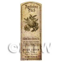 Dolls House Herbalist/Apothecary Amboina Pitch Herb Long Sepia Label