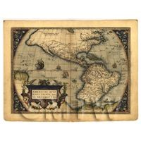 Dolls House Miniature Old Map Of The Americas From Late 1500s