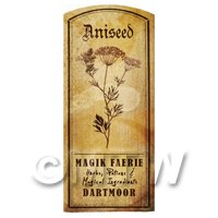 Dolls House Herbalist/Apothecary Aniseed Herb Short Sepia Label