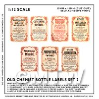 7 Dolls House Miniature Apothecary Labels Set 1