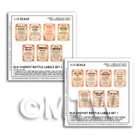 14 Different Dolls House Miniature Apothecary Labels