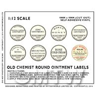 8 Assorted Miniature Round Apothecary Labels
