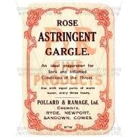 Rose Astringent Gargle Miniature Apothecary Label