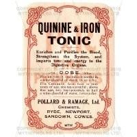 Quinine And Iron Tonic Miniature Apothecary Label