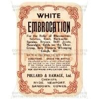 White Embrocation Miniature Apothecary Label