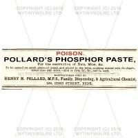 Pollards Phosphor Paste Miniature Apothecary Label