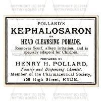 Kephalosaron Head Pomade Miniature Apothecary Label