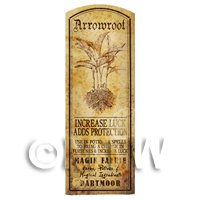 Dolls House Herbalist/Apothecary Arrowroot Plant Herb Long Sepia Label