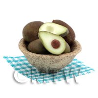 Dolls House Miniature Handcrafted Bowl of Avacodo Fruits