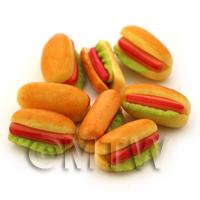 Dolls House Miniature Hot Dog And Lettuce In A Bun with Ketchup
