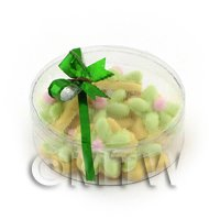 Dolls House Miniature Box of 10 Green Iced Flower Biscuits