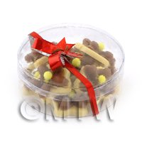 Dolls House Miniature Box of 10 Chocolate Iced Flower Biscuits