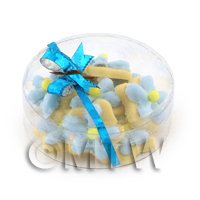 Dolls House Miniature Box of 10 Blue Iced Flower Biscuits