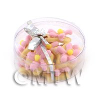 Dolls House Miniature Box of 10 Pink Iced Flower Biscuits