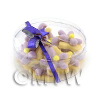 Dolls House Miniature Box of 10 Purple Iced Flower Biscuits
