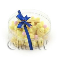 Dolls House Miniature Box of 10 Yellow Iced Flower Biscuits