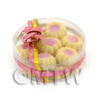Dolls House Miniature Box of 14 Biscuits With Raspberry Centre