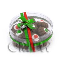 Dolls House Miniature Box of 14 Chocolate Biscuits With Iced Centre