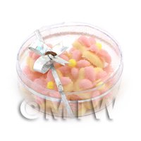 Dolls House Miniature Box of 10 Peach Iced Flower Biscuits