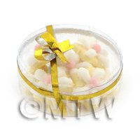 Dolls House Miniature Box of 10 White Iced Flower Biscuits