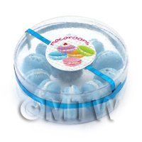 Dolls House Miniature Box of 10 Blueberry Macaroons