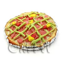 Dolls House Miniature Sliced Ham And Pineapple Pizza