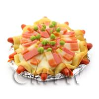 Dolls House Miniature Ham And Bacon Topped Sausage Crust Pizza