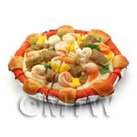 Dolls House Miniature Spicy Beef and Prawn Pizza With Sausage Crust
