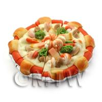 Dolls House Miniature Prawn, Bacon and Mushroom Pizza