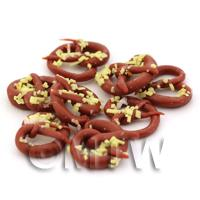 Dolls House Miniature Large Nut Topped Chocolate Pretzel