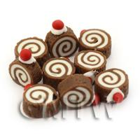 Dolls House Miniature Cherry Topped Chocolate Roulade