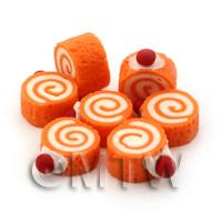 Dolls House Miniature Orange and Cream Mini Roulade