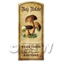Dolls House Miniature Apothecary Bay Bolete Fungi Colour Label