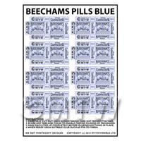 Dolls House Miniature sheet of 8 Blue Victorian Beechams Pills Box