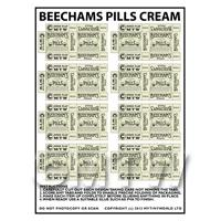 Dolls House Miniature sheet of 8 Cream Victorian Beechams Pills Box
