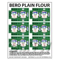 Dolls House Miniature Sheet of 6 Bero Plain Flour Boxes