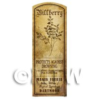 Dolls House Herbalist/Apothecary Bilberry Plant Herb Long Sepia Label