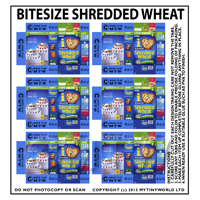 Dolls House Miniature Packaging Sheet of 6 Bitesize Shredded Wheat