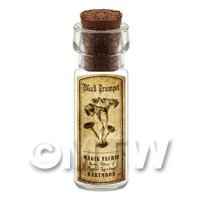 1/12th scale - Dolls House Miniature Apothecary Black Trumpet Fungi Bottle And Label
