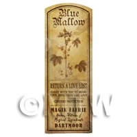 Dolls House Herbalist/Apothecary Blue Mallow Plant Herb Long Sepia Label