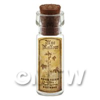 Dolls House Apothecary Blue Mallow Herb Short Sepia Label And Bottle